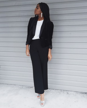 white t-shirt, black blazer, black dress pants, silver heels