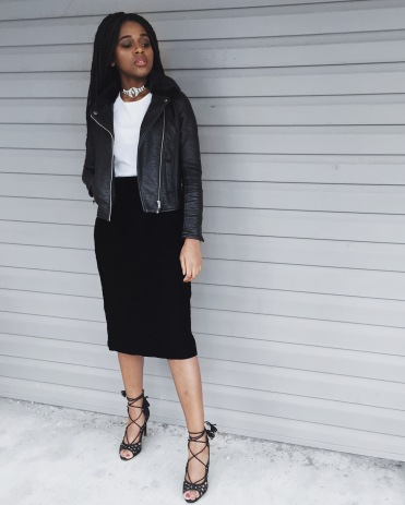 white t-shirt, black leather jacket, black velvet midi skirt, black lace up heels, black diamond choker necklace