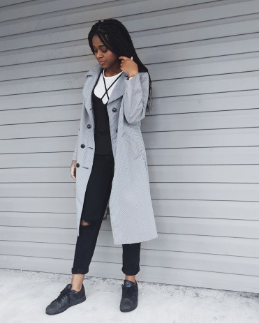 white t-shirt, black destroyed boyfriend jeans, black adidas, black and white gingham print trench coat
