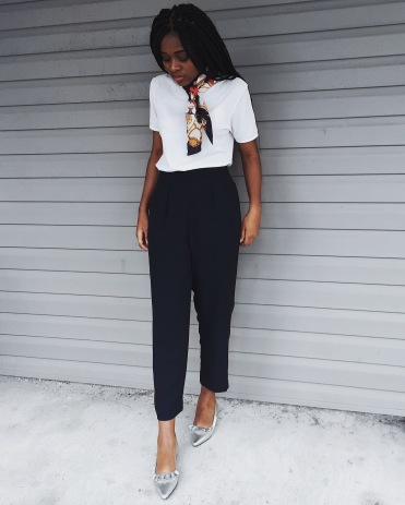 white t-shirt, navy dress pants, silver flat, neck scarf