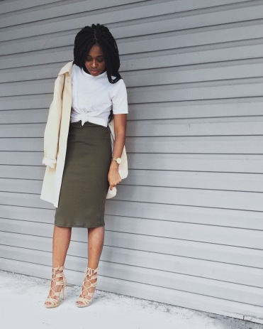 white t-shirt, olive green bodycon dress, camel trench coat, camel lace up heels