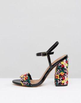 black flower heels