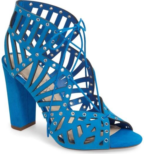 blue lace heel