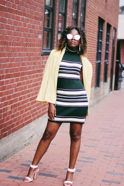 thrifted outfit, yellow jacket, striped sleeveless sweater dress, pink handle heels, silver flower earrings, silver sunglasses, Aldo, Call It Spring, Forever 21