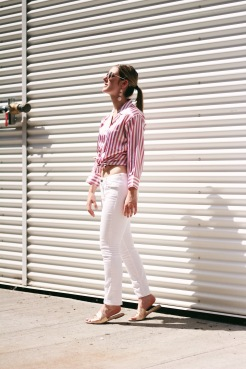thrifted outfit, pink silk stripped button down shirt, white low rise jeans with zippers, rose gold slides, pink bubble earrings